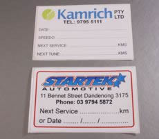 Single Sided Automotive Lube Service Stickers